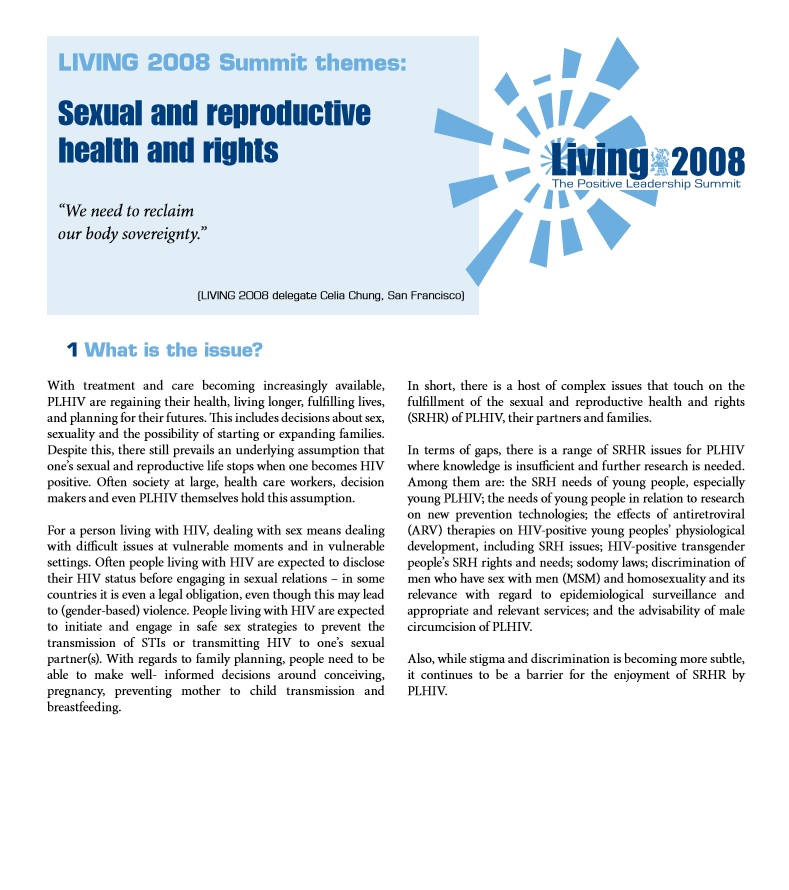 LIVING2008 Sexual Reproductive Health and Rights Working Group Statement